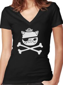 Kwazii Krossbones Women's Fitted V-Neck T-Shirt