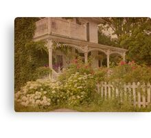 House with the white picket fence Canvas Print