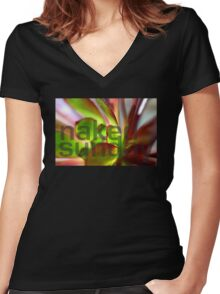 Purple Aeonium Macro No1 Women's Fitted V-Neck T-Shirt