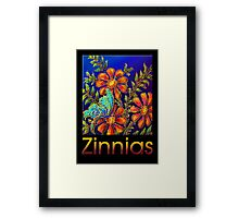 Poster, 'Zinnias by Yard Light' A Summertime Floral Fantasy Framed Print