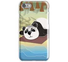 Panda lying on the beach under palm trees iPhone Case/Skin
