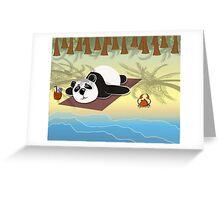Panda lying on the beach under palm trees Greeting Card