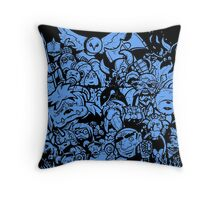 Old Friends (blue) Throw Pillow