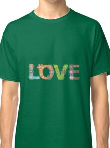 Love Word Floral Pattern Hippie Art Classic T-Shirt