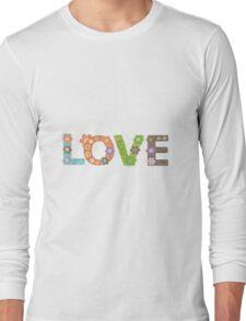Love Word Floral Pattern Hippie Art Long Sleeve T-Shirt