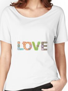 Love Word Floral Pattern Hippie Art Women's Relaxed Fit T-Shirt