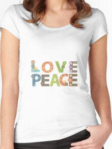 Love Peace Word Floral Pattern Illustration Women's Fitted Scoop T-Shirt