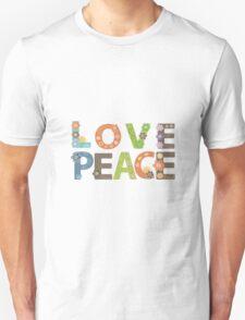 Love Peace Word Floral Pattern Illustration Unisex T-Shirt