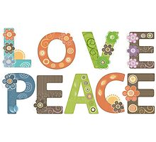 Love Peace Word Floral Pattern Illustration by EveStock
