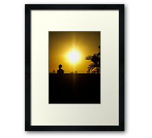 Cool man at sunset in Cartagena Colombia Framed Print