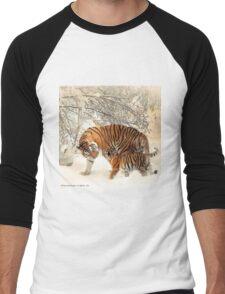 Siberian Tiger and Cub Men's Baseball ¾ T-Shirt