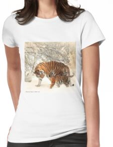 Siberian Tiger and Cub Womens Fitted T-Shirt
