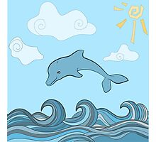 Dolphins in blue sea wave.  Photographic Print