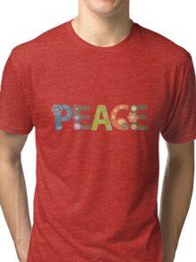 Peace Word Floral Pattern Illustration Tri-blend T-Shirt