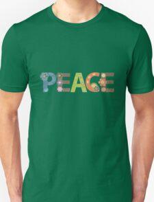 Peace Word Floral Pattern Illustration Unisex T-Shirt