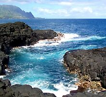Blue Ocean Waters of Queens Bath on Kauai Hawaii by Amy McDaniel