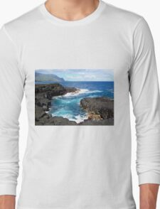 Blue Ocean Waters of Queens Bath on Kauai Hawaii Long Sleeve T-Shirt