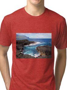 Blue Ocean Waters of Queens Bath on Kauai Hawaii Tri-blend T-Shirt