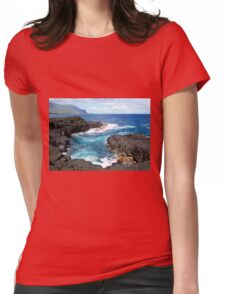 Blue Ocean Waters of Queens Bath on Kauai Hawaii Womens Fitted T-Shirt