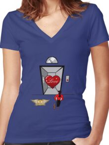 Love In the elevator Women's Fitted V-Neck T-Shirt