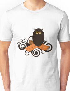 Black Spooky Owl Illustration Unisex T-Shirt