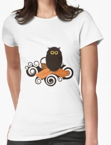 Black Spooky Owl Illustration Womens Fitted T-Shirt
