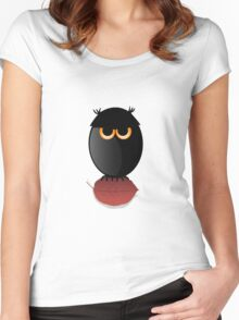 Black Spooky Owl Illustration Women's Fitted Scoop T-Shirt