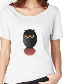 Black Spooky Owl Illustration Women's Relaxed Fit T-Shirt