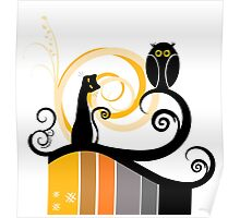 Black Whimsy Cat and Owl Illustration Poster