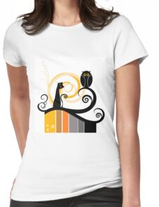 Black Whimsy Cat and Owl Illustration Womens Fitted T-Shirt