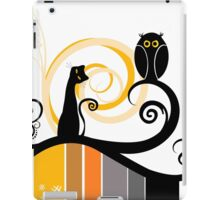 Black Whimsy Cat and Owl Illustration iPad Case/Skin