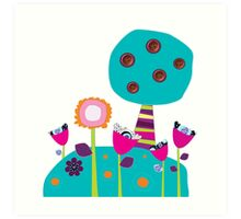 Buttons tree and colourful flowers Art Print