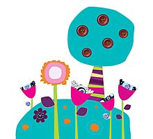Buttons tree and colourful flowers Photographic Print