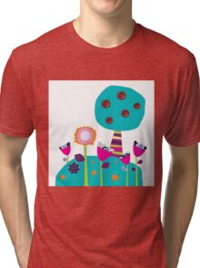 Buttons tree and colourful flowers Tri-blend T-Shirt