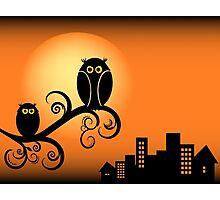 Cute Owls on Tree Illustration Photographic Print