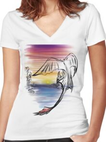 Toothless Sunset Women's Fitted V-Neck T-Shirt
