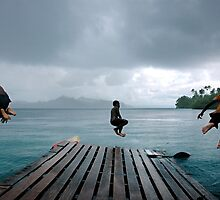 Jetty Jump, Solomon Islands. by Stewart Allen