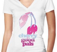 Cherry Good Pals  Women's Fitted V-Neck T-Shirt