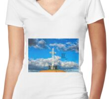 CLOUDS & CROSS Women's Fitted V-Neck T-Shirt