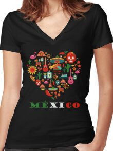 LOVE MEXICO Women's Fitted V-Neck T-Shirt