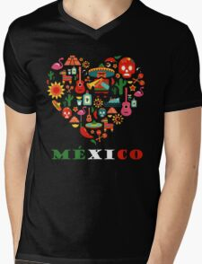LOVE MEXICO Mens V-Neck T-Shirt