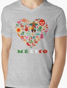 LOVE MEXICO Mens V-Neck T-Shirt