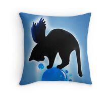 Balck Whimsical Cat Illustration Throw Pillow