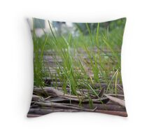 Grass and dead leaves Throw Pillow