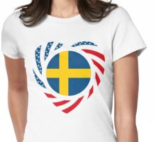 Swedish American Multinational Patriot Flag Series 2.0 Womens Fitted T-Shirt