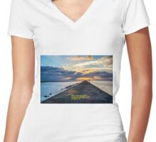 WISDOM & SUNSET Women's Fitted V-Neck T-Shirt