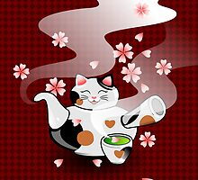 Maneki Neko Japanese Teapot by BlissAndKittens