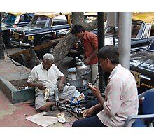 Busy street corner with telecom Photographic Print