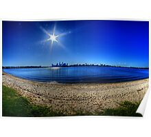 Sun over Perth, across the Swan Poster