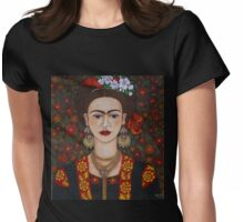 Frida Kahlo with butterflies  Womens Fitted T-Shirt